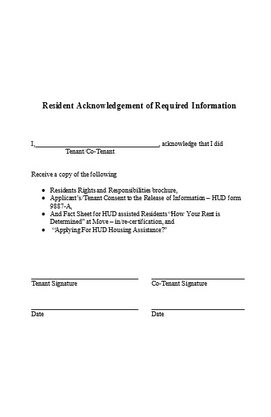 resident acknowledgment form