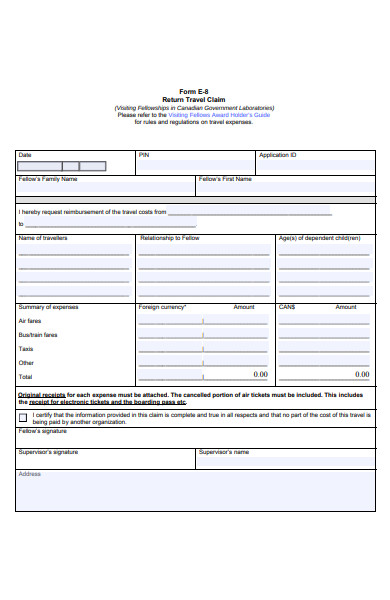 return travel claim form