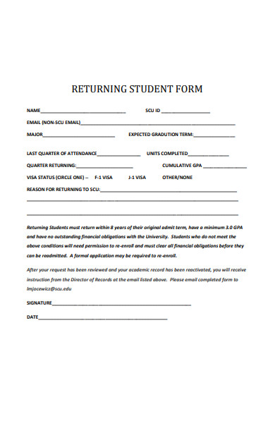 returning student form