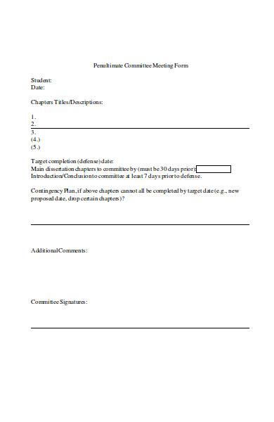 sample committee meeting form