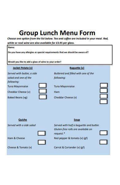 sample group lunch menu form