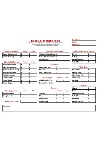 sample menu order form