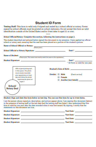 sample student form