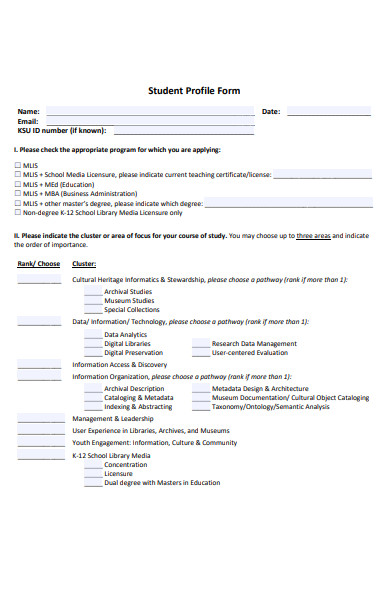 sample student profile form