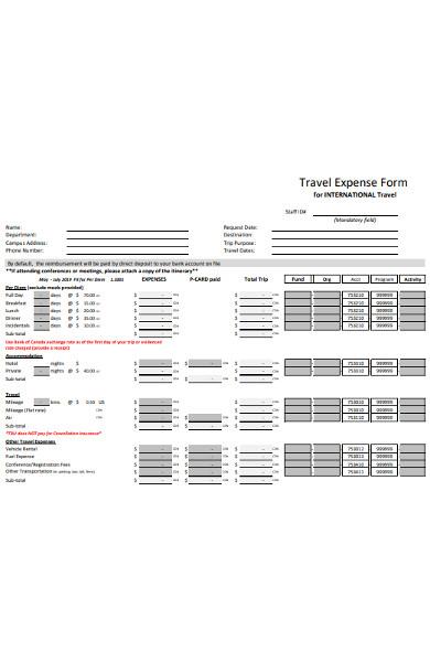 sample travel expense form