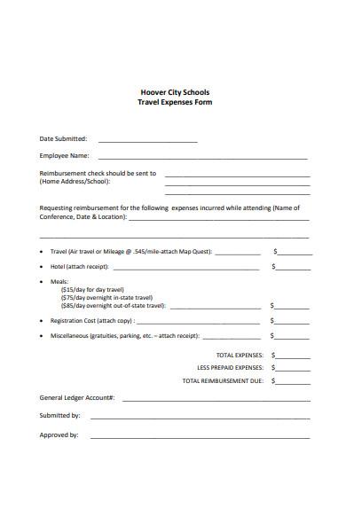 school travel expense form