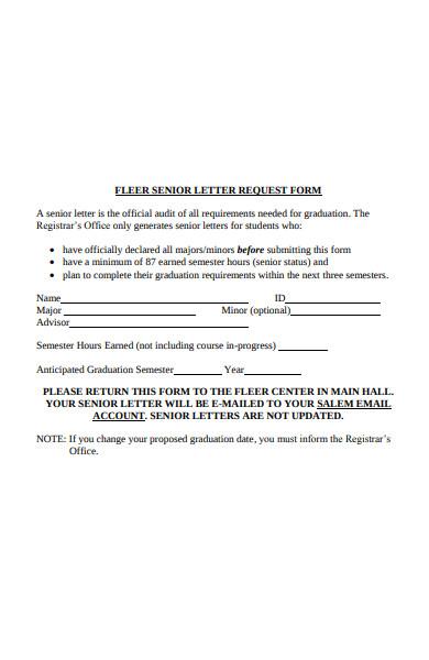 senior letter request form
