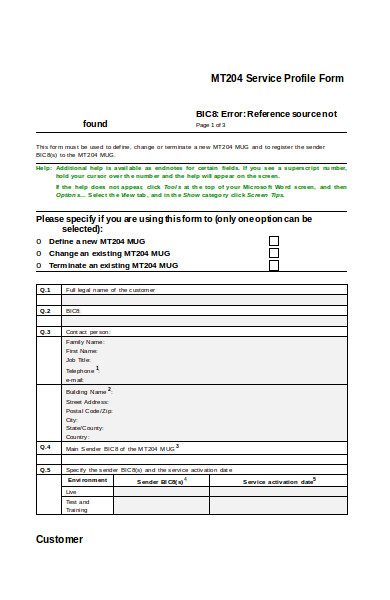 service profile form