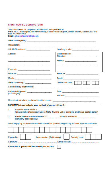 short course booking form