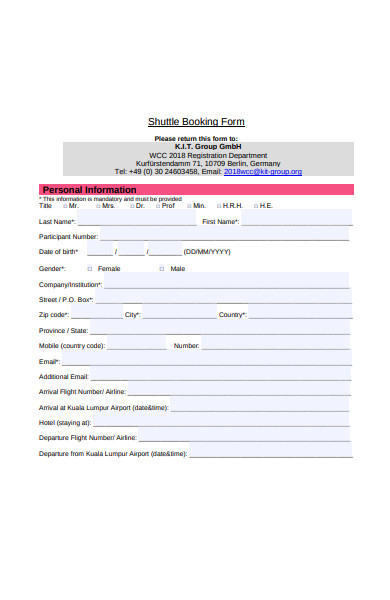 shuttle booking form