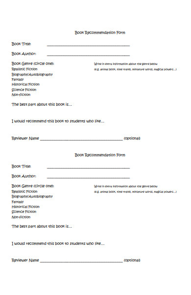 simple book recommendation form