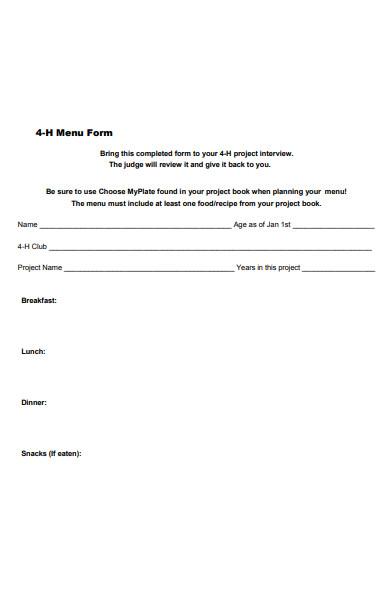 simple menu form