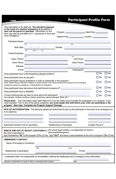 simple profile form