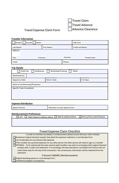 simple travel claim form