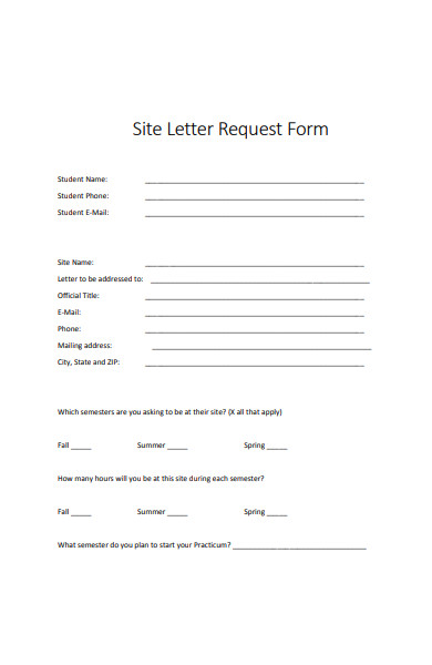 site letter request form