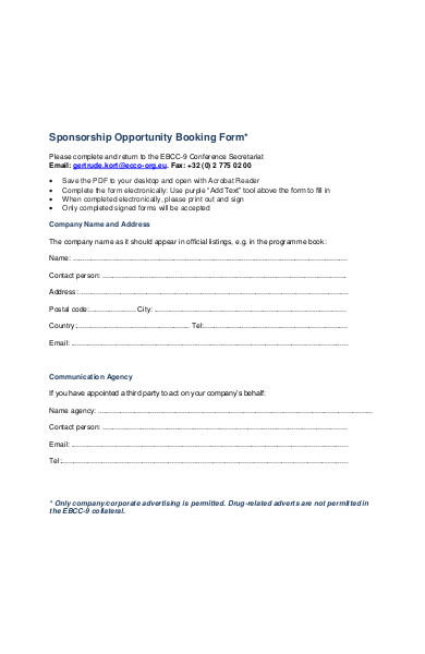sponsorship opportunity booking form