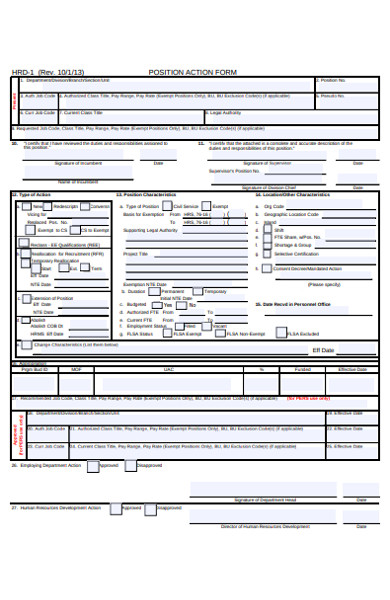 standard action form