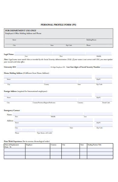 standard profile form