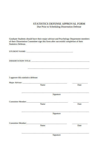 statistics defense approval form