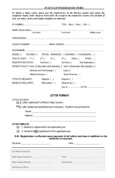status letter request form