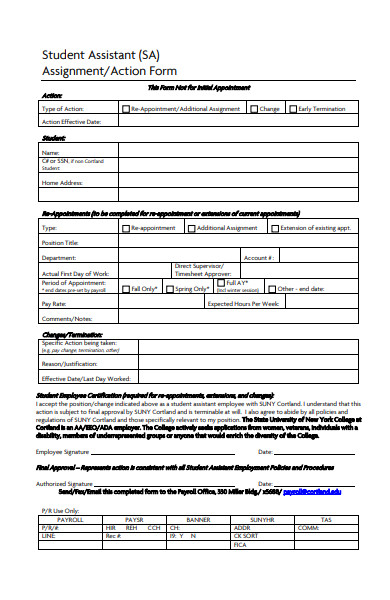 student assistant action form