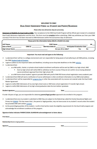 student credit agreement form