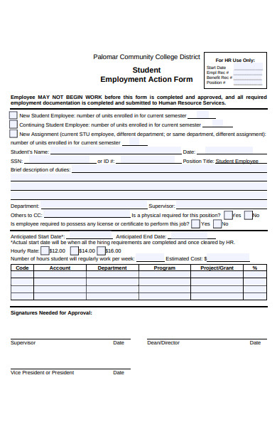 student employment action form