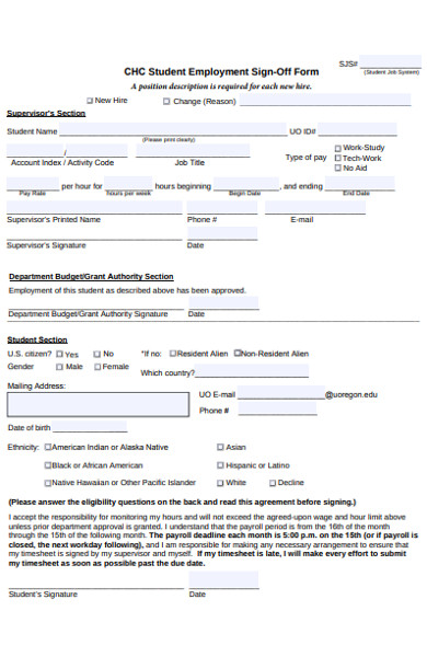 student employment sign off form