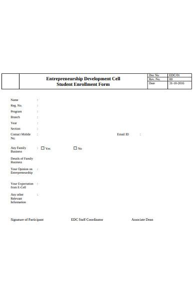 student entrepreneurship enrolment form