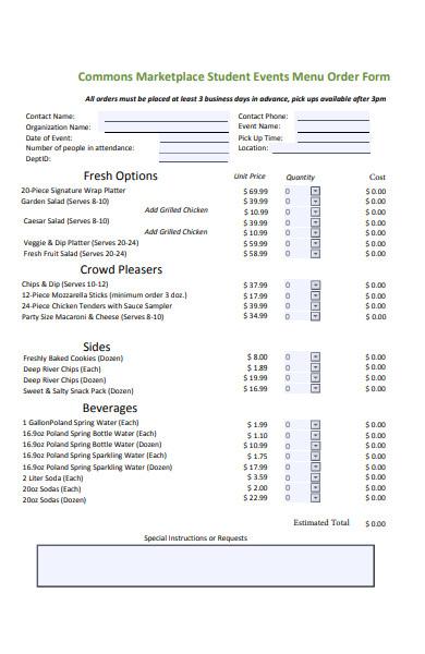 student events menu order form