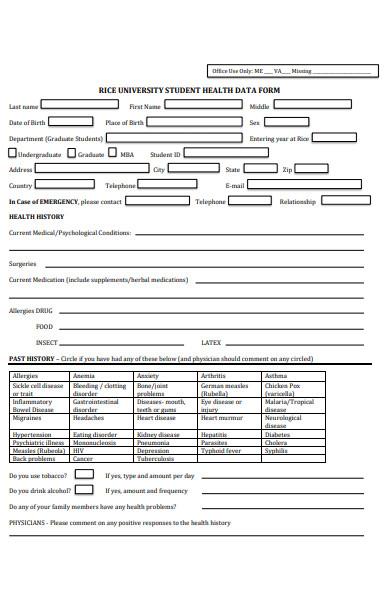 student health data form