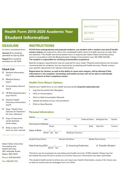 student health information form