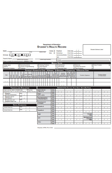 student health record form
