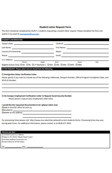 student letter request form