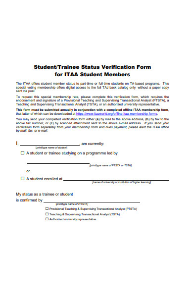 student status verification form