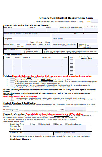 student unspecified registration form