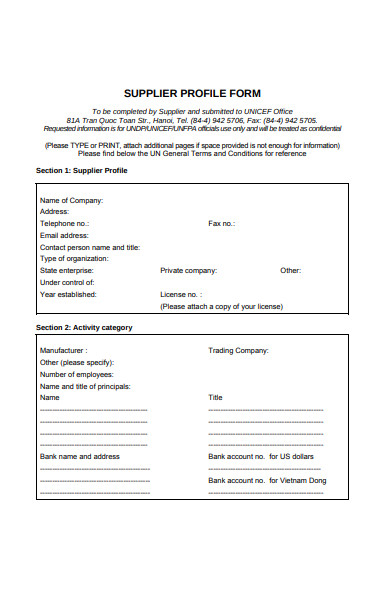 supplier profile form