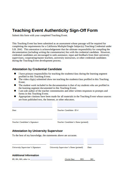 teaching event sign off form