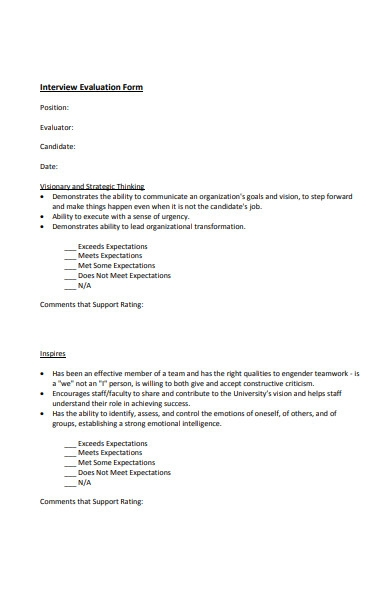 technical interview evaluation form