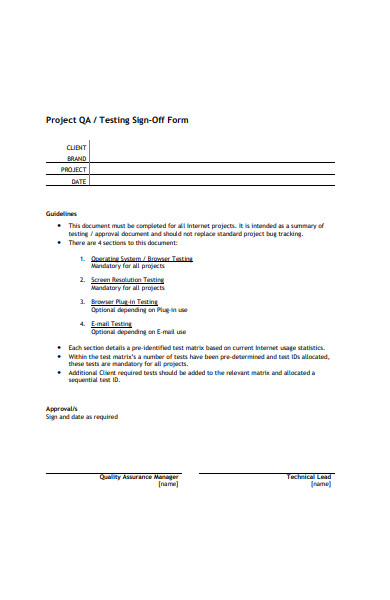 testing sign off form