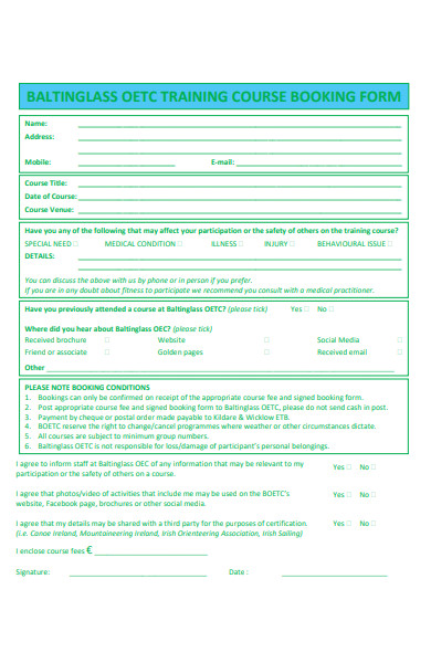training course booking form