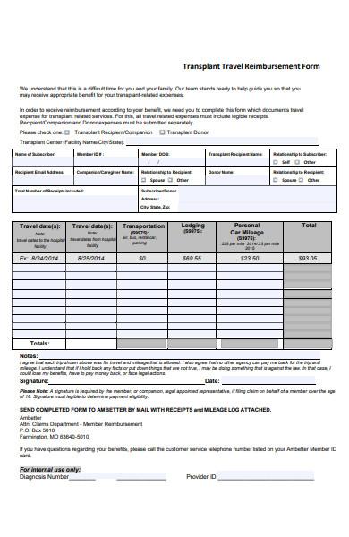 transplant travel expense form