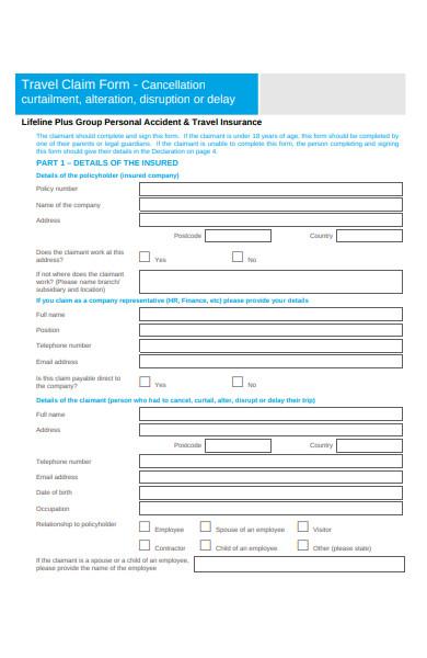 travel claim form cancellation
