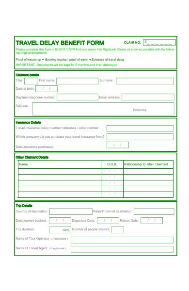 travel delay benefit claim form