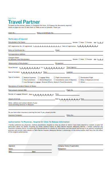 travel partner claim form