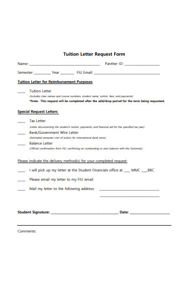 tuition letter request form