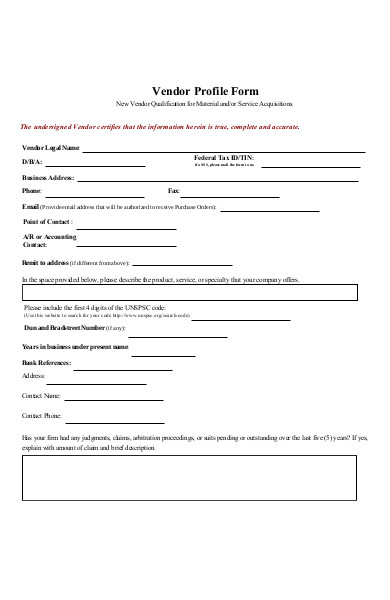 vendor profile form
