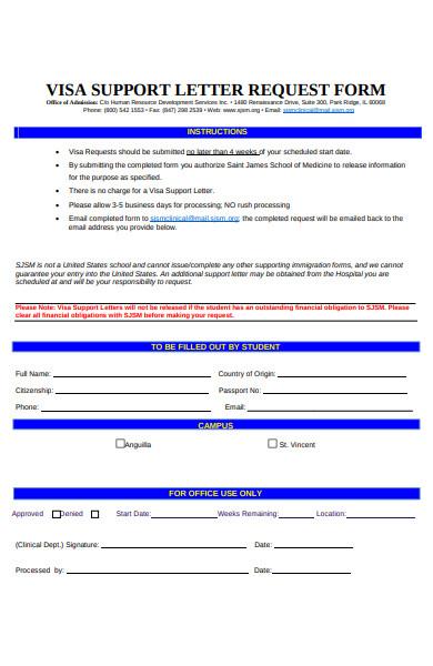 visa support letter request form