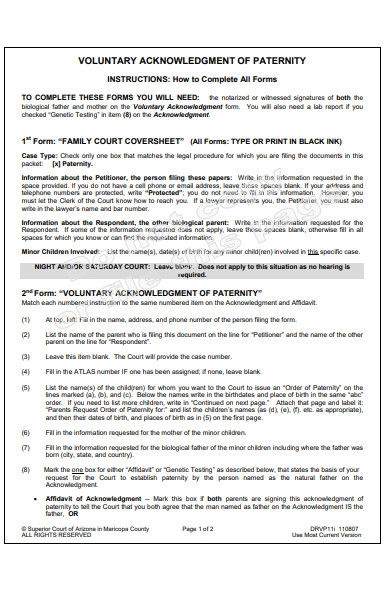 voluntary acknowledgment form
