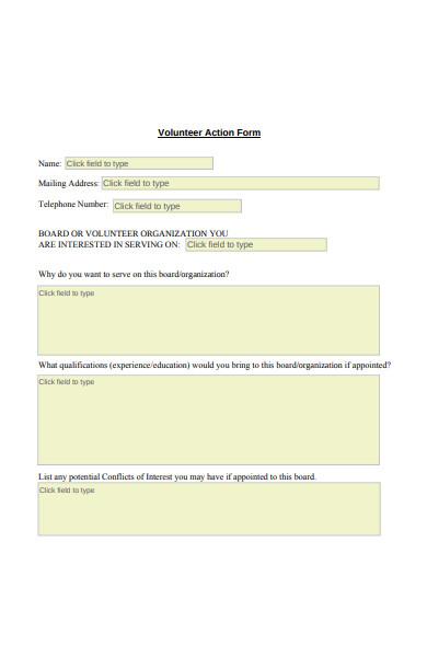 volunteer action form